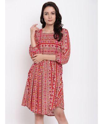 RK Print Gathered Dress