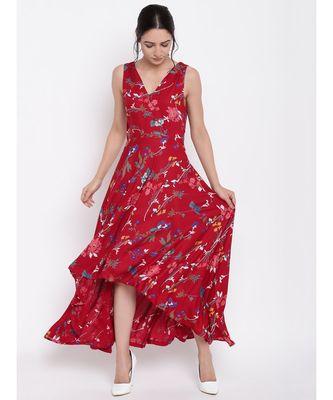 Red Stem Flower Flared Dress