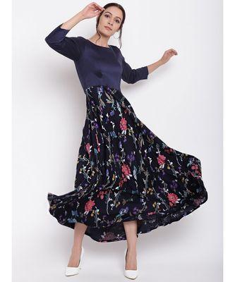 Blue Stem Flower Flared Dress