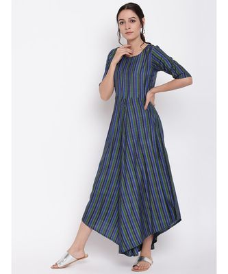 Blue Green Stripe Flared Dress