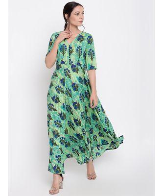 Green Floral Button Dress