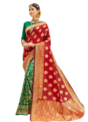 Red brasso art silk saree with blouse