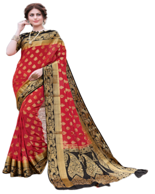 Red Color Nylon With Diamond Nylon saree with Blouse