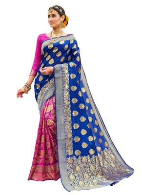 Blue brasso art silk saree with blouse