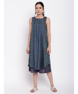 Blue Green Stripe Kurta Set