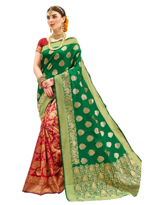 Green brasso art silk saree with blouse