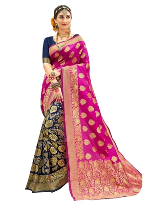 Pink brasso art silk saree with blouse