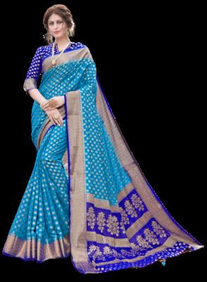 Sky Blue Color Nylon With Diamond Nylon saree with Blouse