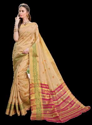 Golden Color Banarasi Silk Dyed saree with Blouse