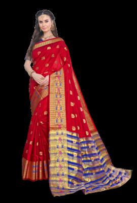 Red Color Banarasi Silk Dyed saree with Blouse