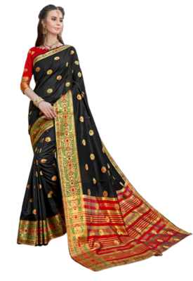 Black Color Banarasi Silk Dyed saree with Blouse