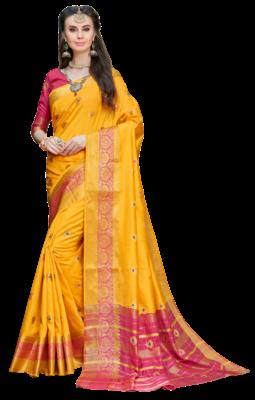 Yellow Color Banarasi Silk Dyed saree with Blouse