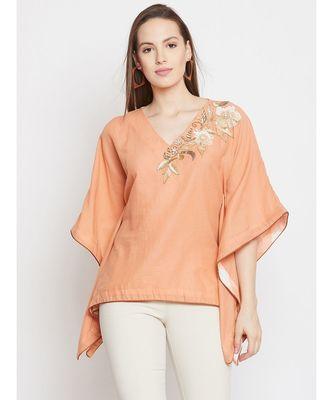 Peach Embellished Kaftan Top