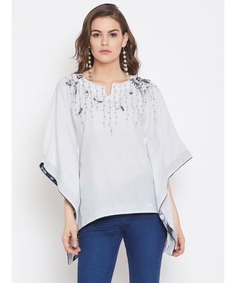 Grey Embellished Kaftan Top