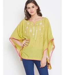 Chartreuse Embellished Kaftan Top