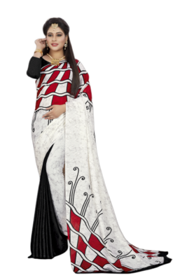 .White Color Crepe Jacquard Printed saree with Blouse