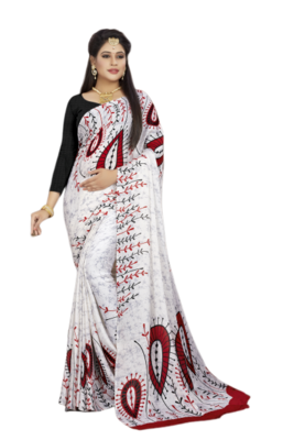 White Color Crepe Jacquard Printed saree with Blouse