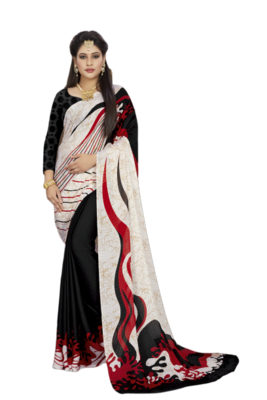 Black Color Crepe Jacquard Printed saree with Blouse