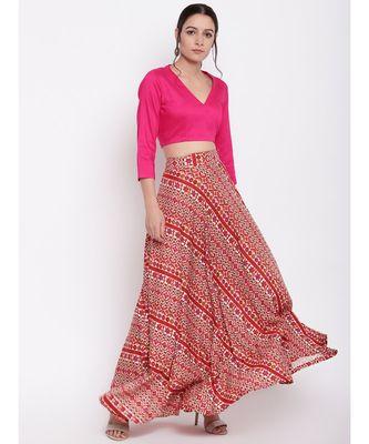 RK Print Pink Skirt Top Set