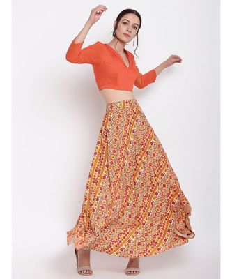 RK Print Orange Skirt Top Set