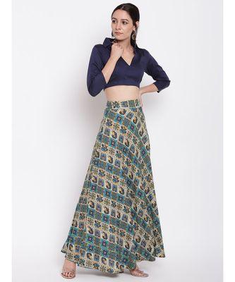 Grid Blue Skirt Top Set