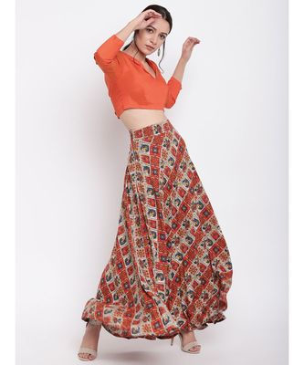 Grid Orange Skirt Top Set