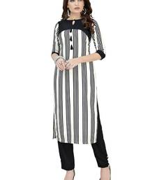 Black And White Printed Crepe kurti