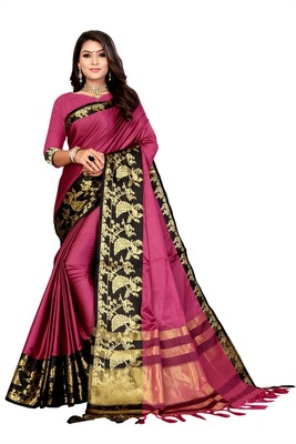 Pink Printed Cotton Silk Saree With Blouse