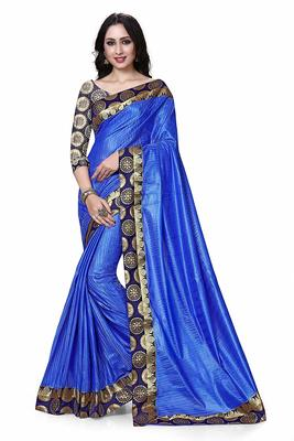 Blue printed dupion silk saree with blouse