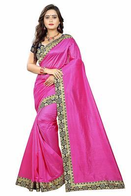 Dark pink printed dupion silk saree with blouse