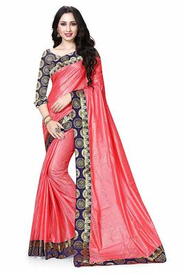 Light Pink Printed Dupion Silk Saree With Blouse