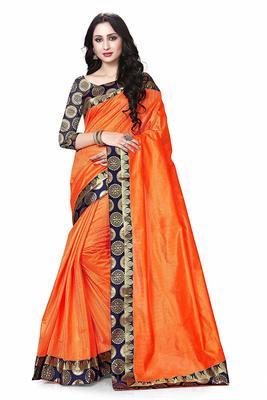 Orange printed dupion silk saree with blouse
