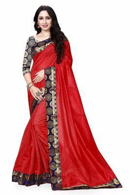 Red printed dupion silk saree with blouse