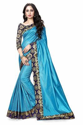 Sky blue printed dupion silk saree with blouse