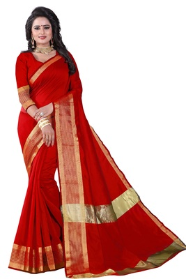 Red printed cotton silk saree with blouse