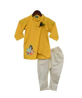 Yellow Kurta with Offwhite Churidar