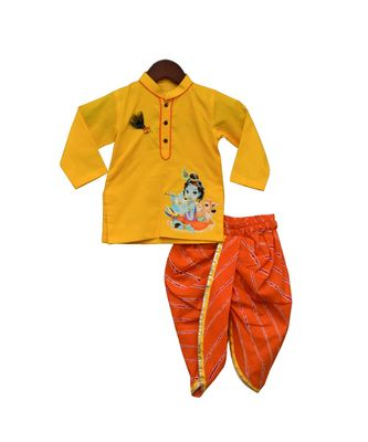 Yellow Kurti with Orange Leheriya Dhoti