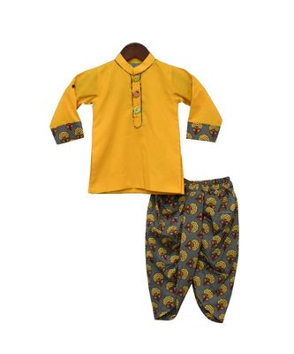 Yellow Kurta with Printed Dhoti
