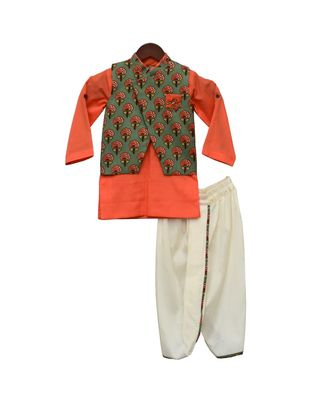 Printed Nehru Jacket with Kurta & Dhoti