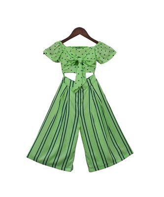Green Printed Top with Stripe Pants