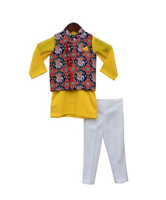 Blue Patola Nehru Jacket with Kurta & Pant