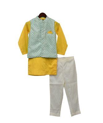 Aqua Embroidery Nehru Jacket Set