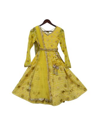 Yellow Lucknowi Anarkali Dress