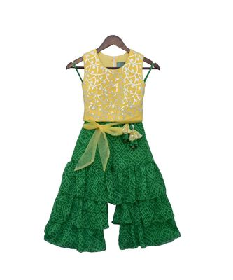 Yellow Embroidery Top with Green Lehriya Sharara