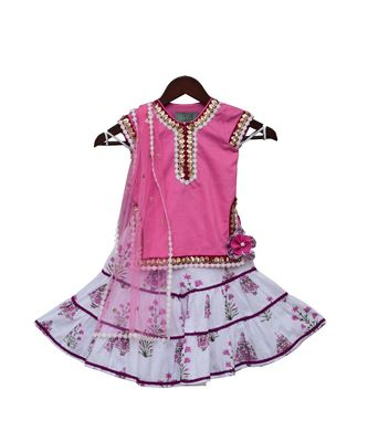 Pink Kurti with Printed Sharara & Dupatta