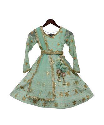 Green Lucknowi Anarkali Dress
