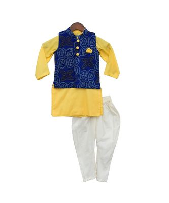 Blue Lehriya Nehru Jacket Set
