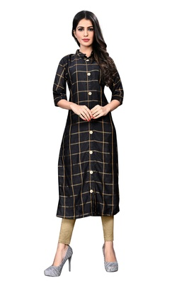 Black Raw Silk Checkered Patterned Kurtis