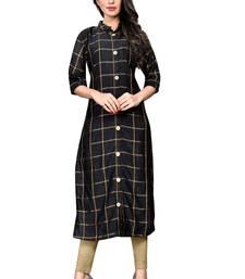 Black Raw Silk Checkered Patterned Kurtis