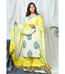 Nigaar Block print set with tye dye dupatta and scalloped pallazos